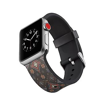 Siliconen klockrem voor Apple Watch 4 3/2/1-44 mm, 42 mm-bloemen
