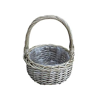 Set of 2 Round Plastic Lined Wicker Flower Basket