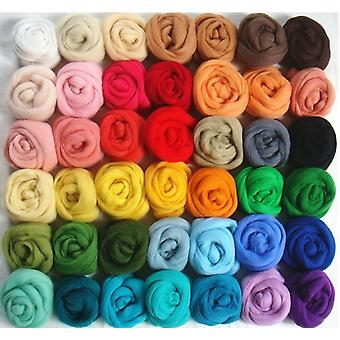 36 Colors Merino Wool Fibre Roving For Hand Spinning needle felting DIY Fun Pop Hand working rough wool felt poke 5 g/bag