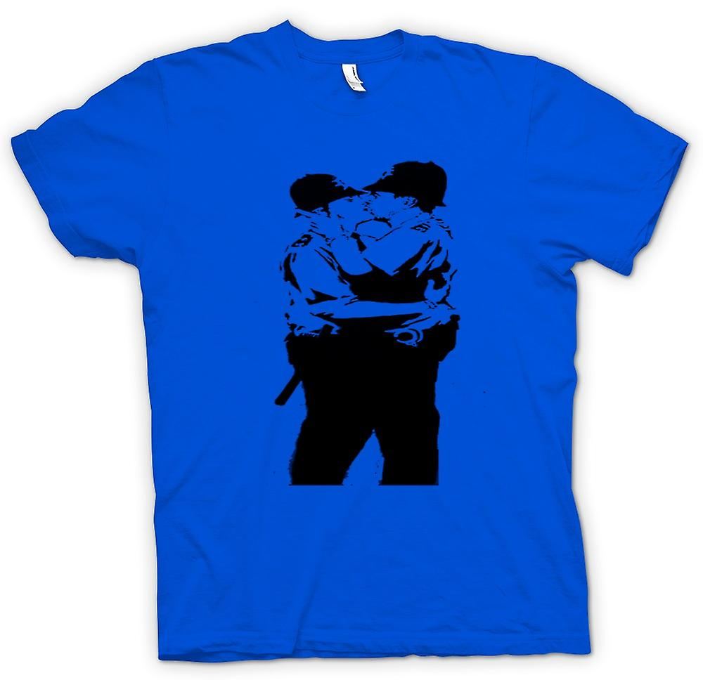 Mens T-shirt - Banksy Graffiti kunst - Gay politie
