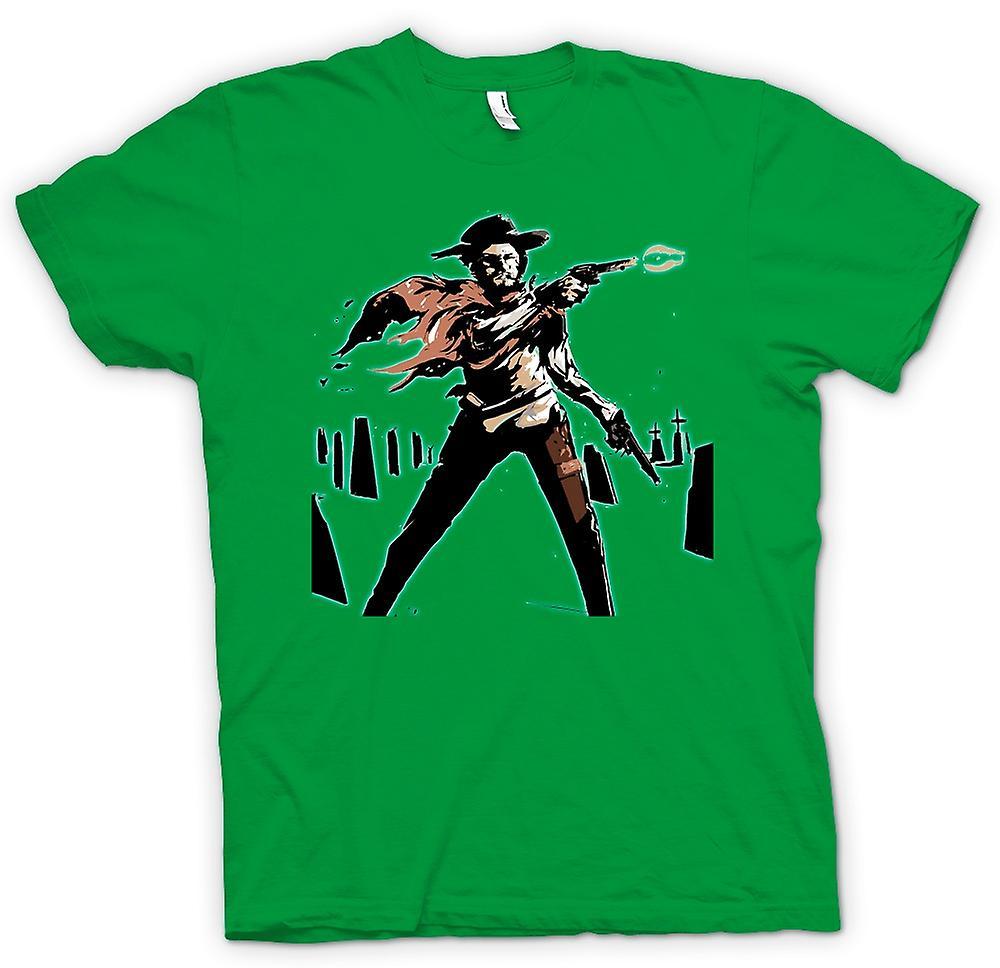 Heren T-shirt-Spaghetti Western - Cowboy - schets