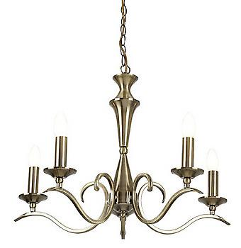Endon KORA-5AB 5 Light Chandelier With Antique Brass Finish