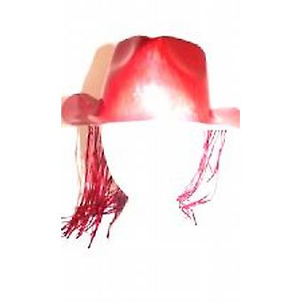 Trilby Red Hat with attached Tinsel Hair
