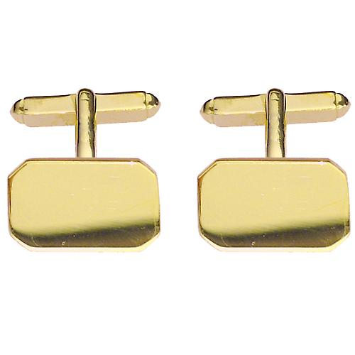 9ct Gold 18x12mm cut corner plain swivel Cufflinks