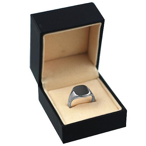 9ct white gold ladies and boys plain cushion signet ring 12x10mm