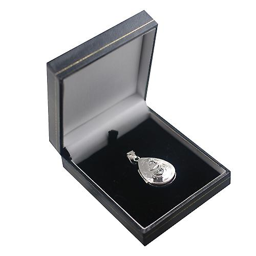 Silver 30x20mm engraved teardrop Locket