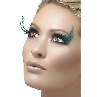 Womens Black & Green Feather Eyelashes With Glue Fancy Dress Accessory
