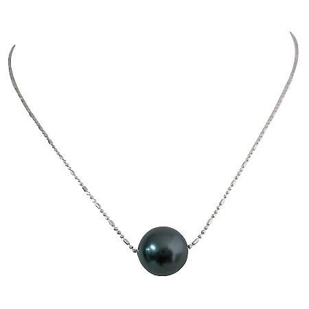 Wedding Necklace Elegant Sophisticated Swarovski 12mm Tahitian Pearl