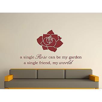A Single Rose Wall Art Sticker - Burgundy