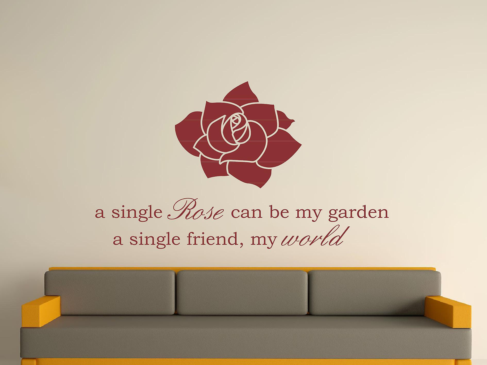 A Single Rose Wall Art Sticker - Burgundy