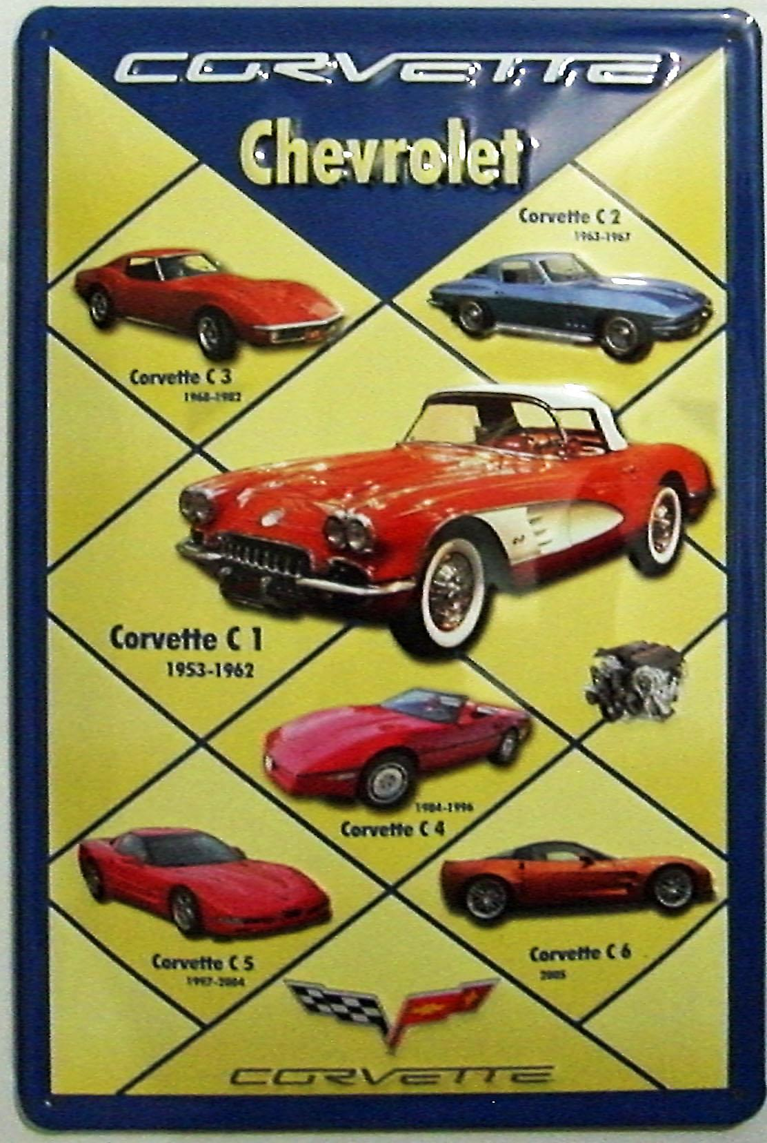 Chevrolet Corvette Montage embossed steel sign (hi 2030 portrait)