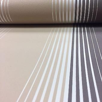Fine Decor Zara Stripe Striped Wallpaper Luxury Textured Vinyl Brown Beige