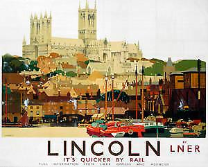 Lincoln Cathedral (old LNER ad.) fridge magnet   (se)
