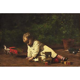 Baby spill på gulvet, Thomas Eakins, 40x60cm med brett
