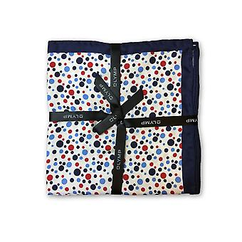 Olymp Pocket Square in white with blue and red dot pattern