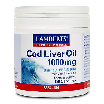 Lamberts Cod Liver Oil 180 Capsules 1000 mg (Vitamins & supplements , Omegas & fat acids)