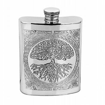 6oz Tree of Life Hip Flask étain - CEL601