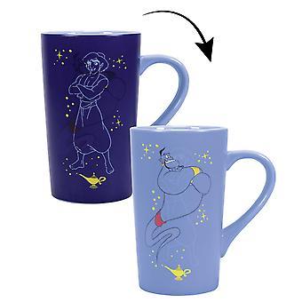 Disney Latte Macchiato Aladdin Genie mit Thermoeffekt blau, bedruckt, aus Keramik, Fassungsvermögen ca. 500 ml..