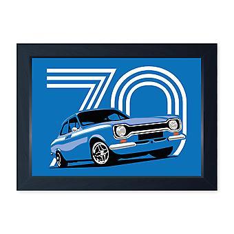 Monza Blue Mk1 Escort Meksiko, laatu kehystetty tulosta-keittiö kylpy huone mies luola taidetta