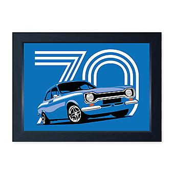 Monza Blue Mk1 Escort Mexico, Quality Framed Print - Kitchen Bathroom Man Cave Art