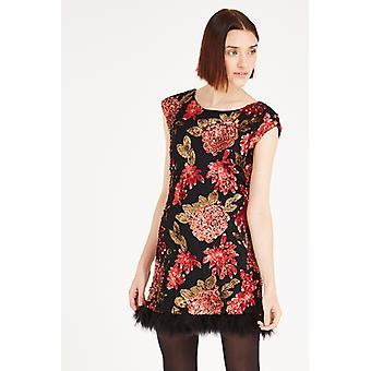 Louche Luxe Feather Trim Fringe Floral Sequin Embellished Dress Black/Red