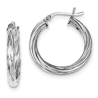925 Sterling Silver Hollow Hinged Twisted Polished Rhodium-plaqué Twist 25mm Boucles d'oreilles Hoop