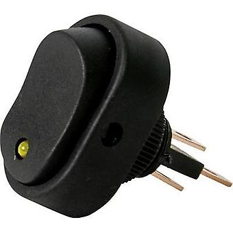 Car toggle switch 12 V 16 A 1 x Off/On latch HP Autozubehör Wippschalter Oval Leuchte Gelb 1 pc(s)