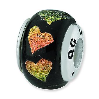 Sterling Silver Reflections Orange Green Hearts Dichroic Glass Bead Charm