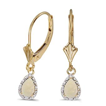 Women's 14k Yellow Gold Pear Opal 6x4mm Gemstone with Diamond Accented Dangling Leverback Earrings (.5 ct and .02 ct)