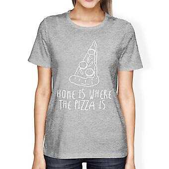 Home Where Pizza Is Woman's Heather Grey Top Funny Graphic T-shirt