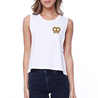 Pretzel Pocket Print Crop Tee Cute Sleeveless Shirt Junior Tank Top