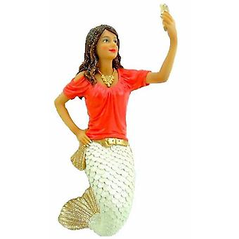 Miss Snap Taking a Selfie Mermaid Christmas Holiday Ornament 7 Inches