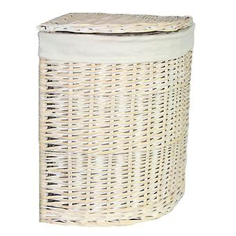 Set of 2 Corner White Wash Laundry Basket with a White Lining