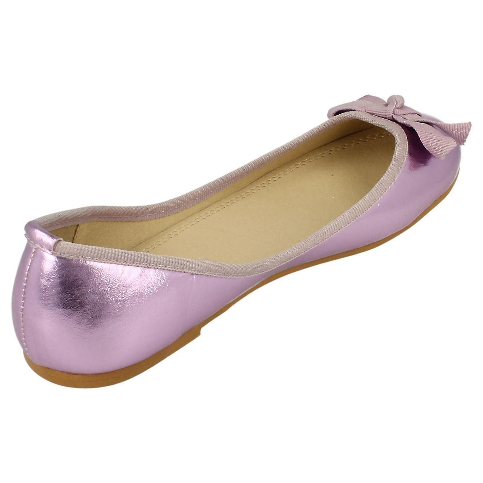 Spot Ladies Ribbon On Vamp Ballerina Bow Shoe Flat ZnwvqP