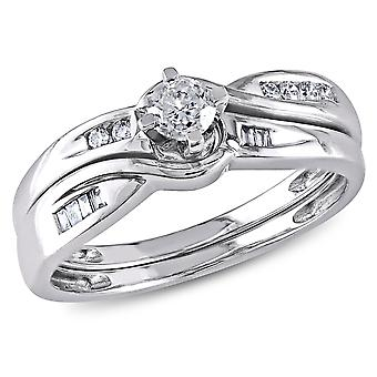 Diamond Engagement Ring & Wedding Band 1/3 Carat (ctw Color H-I Clarity I2-I3) Set in 10K White Gold
