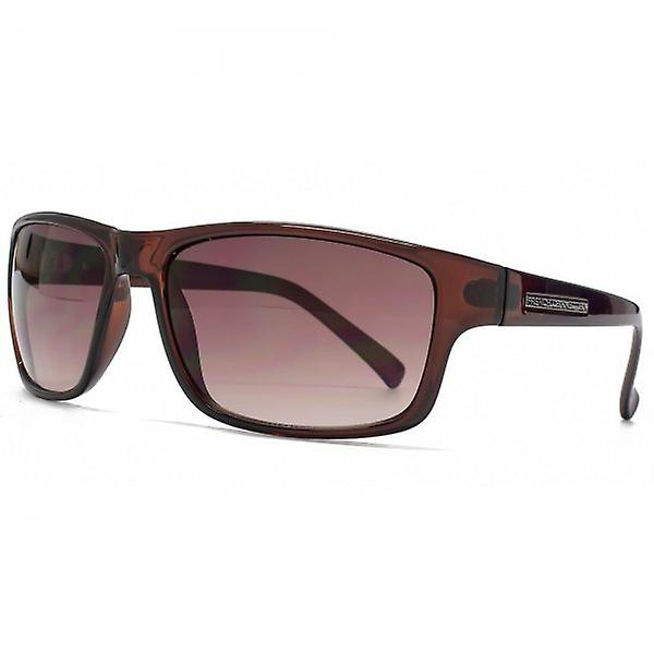 French Connection Rectangle Plastic Sunglasses In Crystal Brown