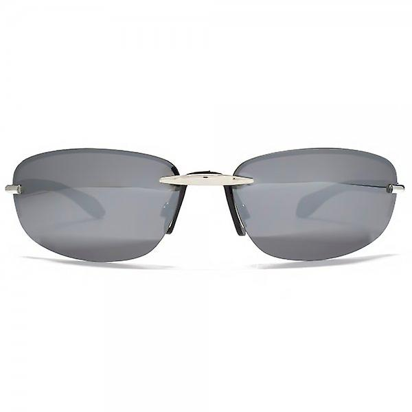 Freedom Polarised Oval Rimless Sunglasses Silver