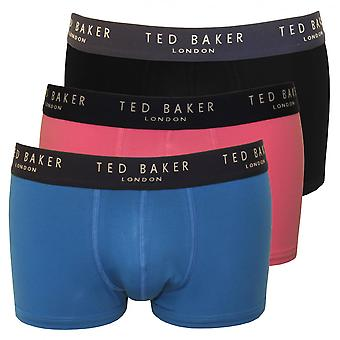Ted Baker 3-Pack Boxer Trunks, Blue/Pink/Black