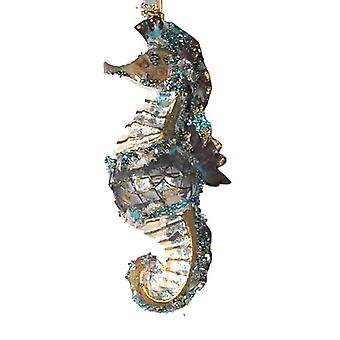 Coastal Glittered Encrusted Seahorse Holiday Ornament Katherine's Collection