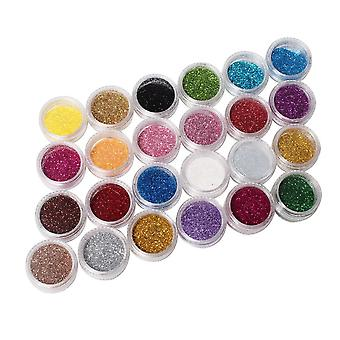 New Fashion 24 Color Metal Shiny Glitter Pedicures Nail Art Tool Kit Acrylic UV Powder Dust