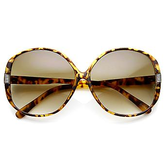 Womens Fashion Metal Accent Round Oversized Sunglasses