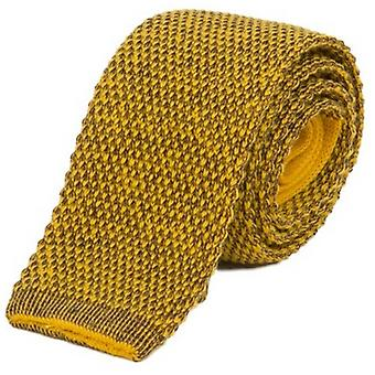 40 Colori Double Threaded Wool and Cotton Knitted Tie - Ochre Yellow/Blackberry