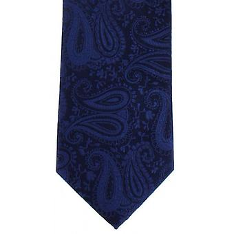 Michelsons of London Tonal Paisley Polyester Tie - Navy