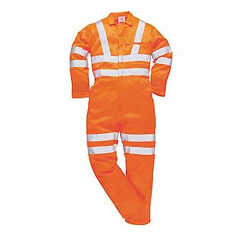 sUw - Hi-Vis Safety Workwear Poly-cotton Rail Track Side Coverall RIS