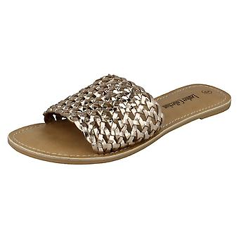 Ladies Leather Collection Flat Weave Mule Sandals F00073