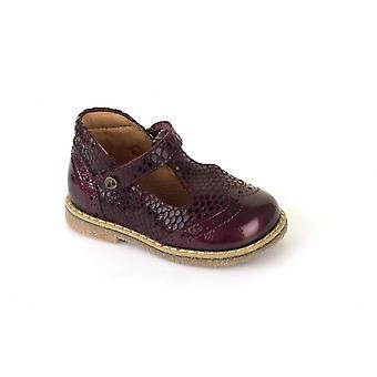Froddo Toddler Girls T-Bar Shoes In Bordeaux Patent & Snakeskin Print Leather
