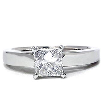 1 ct Princess Cut Diamond Solitaire Engagement Ring 14k White Gold Enhanced