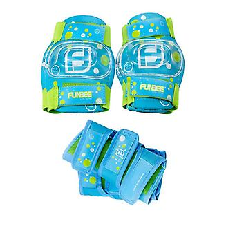 Funbee Blue/Green Boys Kids Wrist /Elbow and Knee Pads Protection Set S-X-Small