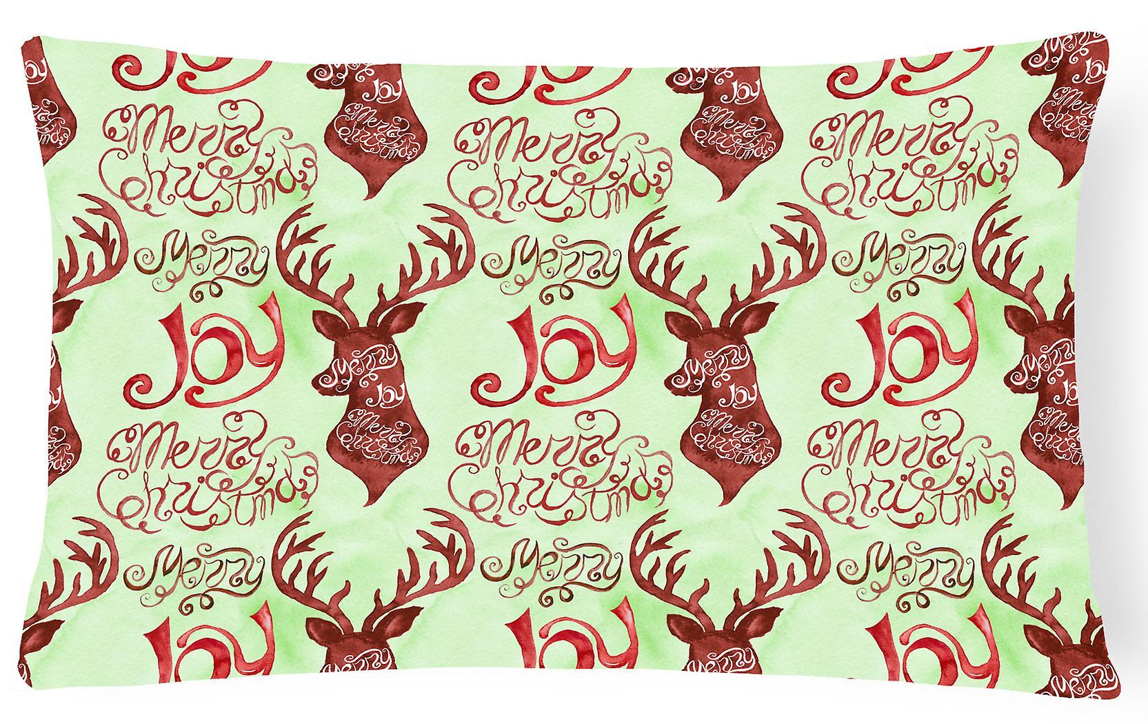 Merry Decorative Joy Christmas Reindeer Fabric Canvas Pillow 1KJ3TFulc5