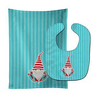 キャロラインズ宝物 BB8786STBU クリスマス Gnome プレゼント赤ちゃんよだれかけ・布をげっぷ